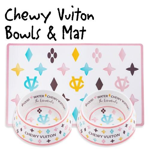 White Chewy Vuiton Bowls & Mat Bundle