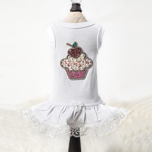 Lil Miss Cupcake Dog Dress: White