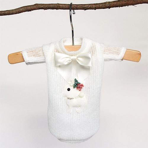 Baby Deer Dog Sweater: Cream