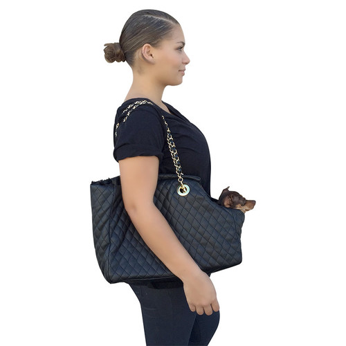 Kate Carrier in Quilted Black Vegan Leather with Chain Straps