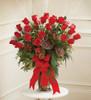 Large Vase Arrangement In Christmas Colors