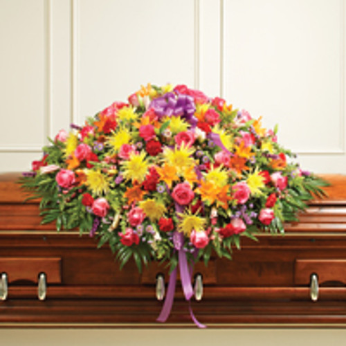 Multicolor Bright Mixed Flower Full Casket Cover