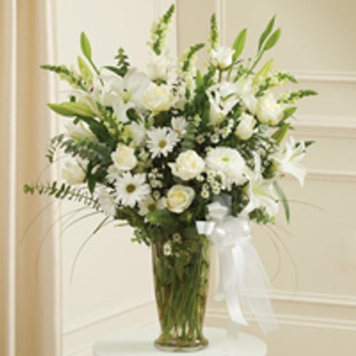 Large White Sympathy Vase Arrangement