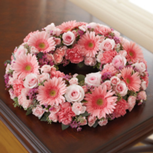 All Pink Cremation Wreath