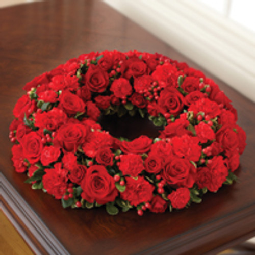 All Red Cremation Wreath