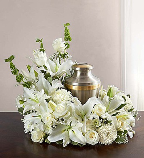Upright All White Cremation Wreath