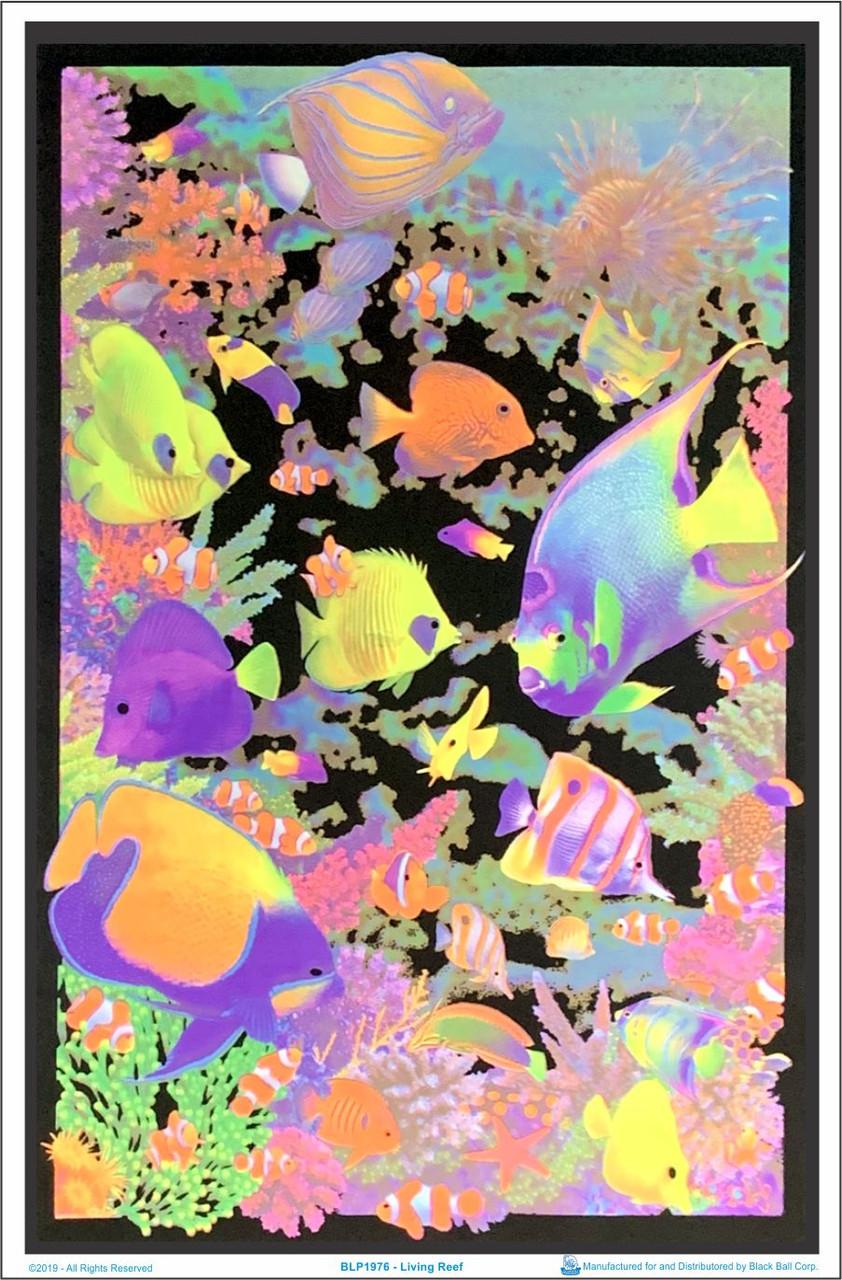 """23/"""" x 35/"""" Flocked Octopus Garden by Michael Fishel Blacklight Poster"""