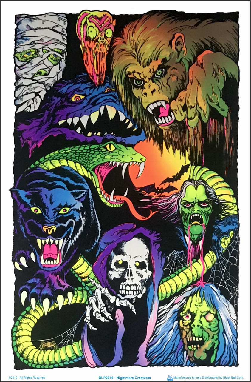 "Flocked Misfits Nightmare Fiend Blacklight Poster 23/"" x 35/"""