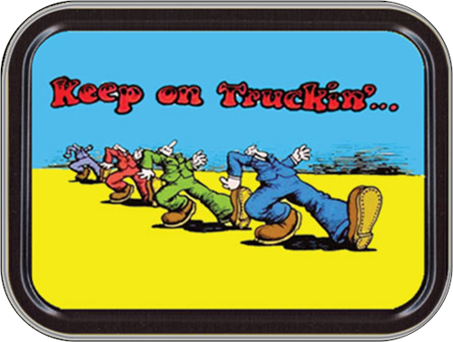 "Keep On Trucking - R. Crumb Stash Tin Storage Container 4.37"" L x 3.5"" W x 1"" H"