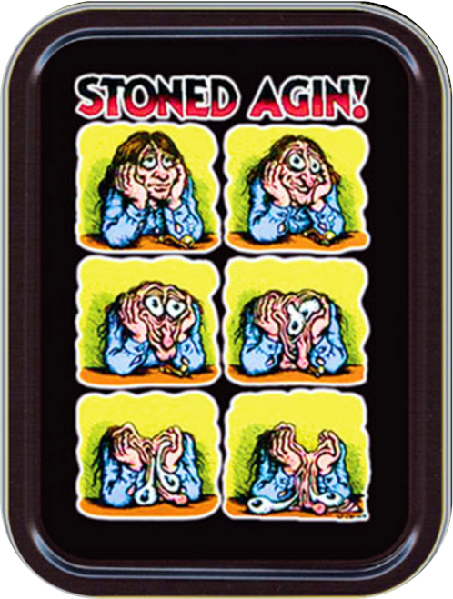 "Stoned Again - R. Crumb Stash Tin Storage Container 4.37"" L x 3.5"" W x 1"" H"
