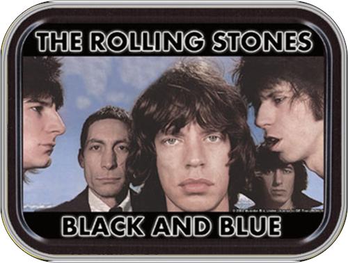 "Rolling Stones Black & Blue Stash Tin Storage Container 4.37"" L x 3.5"" W x 1"" H"