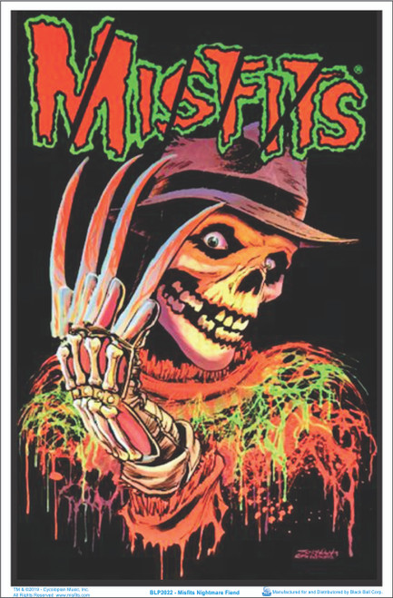 Misfits Nightmare Fiend Blacklight Poster - Flocked Image