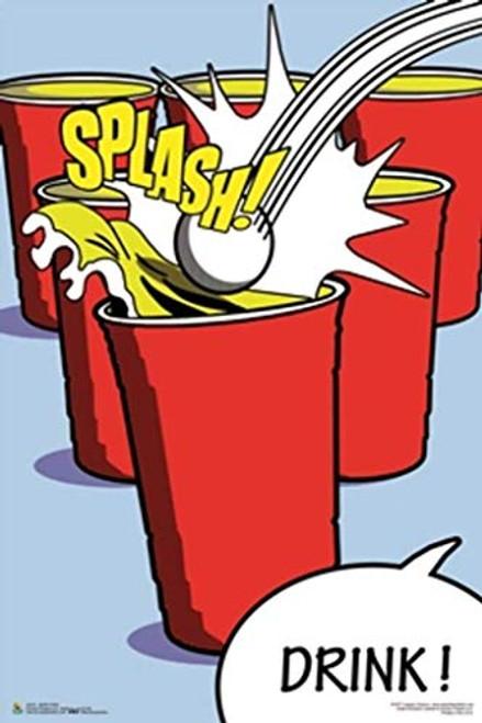 Beer Pong Splash & Drink Art Print Poster Image