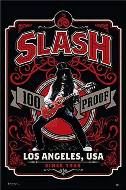 Guns N' Roses Slash Whiskey Label 100 Proof Los Angeles 24x36 Music Poster Image