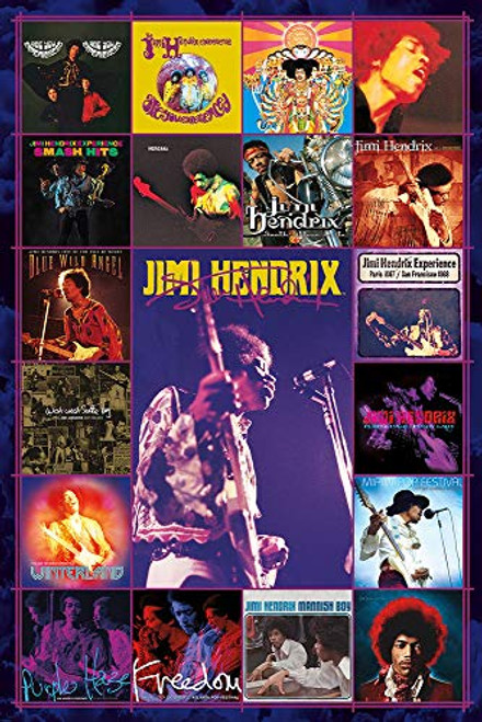 "Jimi Hendrix Album Covers Poster - 24"" X 36"""