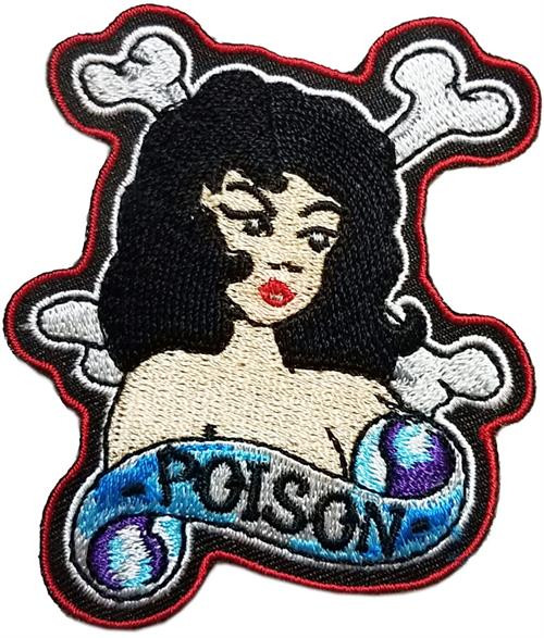 "Poison - Embroidered Sew On Patch 2 1/2"" X 3"" Image"