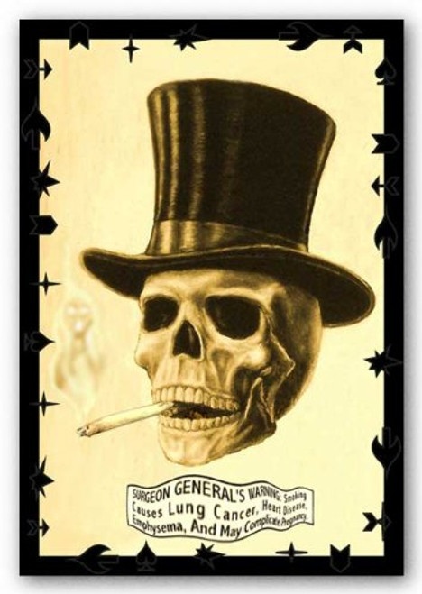 "Skull Smoking 24""x36"" Art Print Poster"