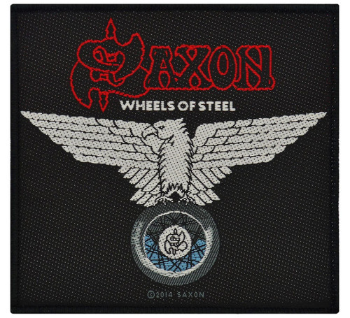 """Saxon Wheels Of Steel - Woven Sew On Patch 4"""" x 3.75"""" Image"""