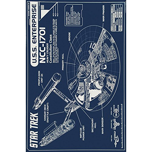 Star Trek Enterprise Blueprint Poster, 24 by 36-Inch