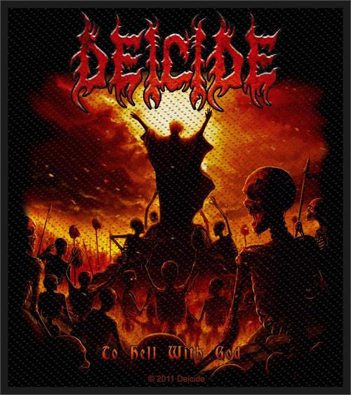 """Deicide To Hell With God - Woven Sew On Patch 3.75"""" x 4"""" Image"""