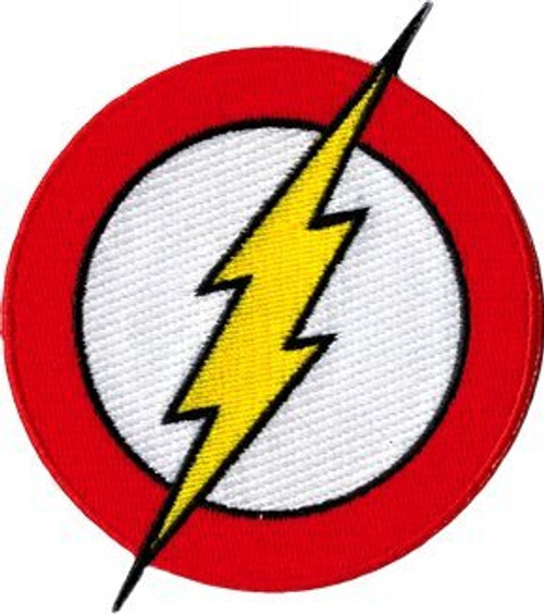 "The Flash - Classic Lightning Bolt Logo - Iron On Embroidered Patch 3.25"" x 3.75"" Image"