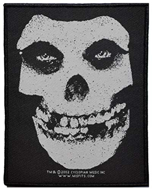 """Misfits Fiend Skull - Woven Sew On Patch 4"""" x 5.25"""" Image"""