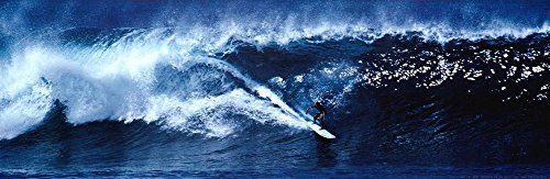 High Surf Surfing Big Wave Panorama Art Print Poster Poster 36x12