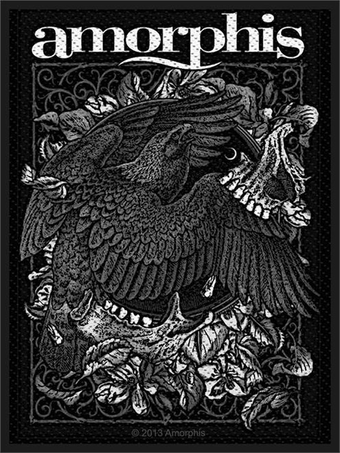 """Amorphis Circle Bird - Woven Sew On Patch 2.75"""" x 4"""" Image"""