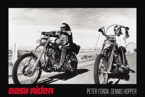 Easy Rider Movie (Dennis Hopper & Peter Fonda on Motorcycles, Black) Poster Print (24x36)