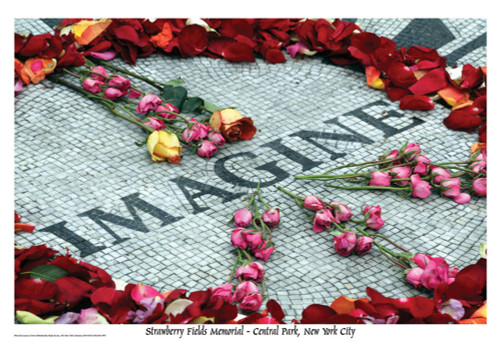 Imagine Peace Flowers John Lennon Memorial Poster 36x24