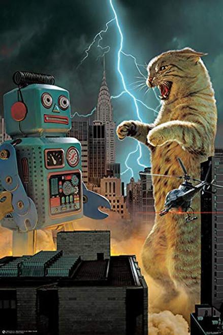 Catzilla vs Robot Print Poster Image