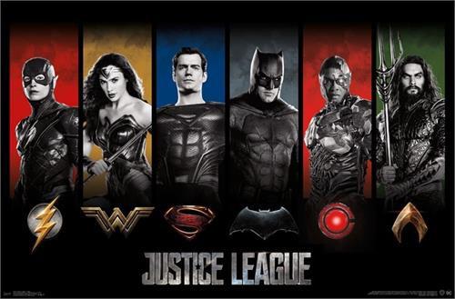 "Justice League - Logos Poster 22.375"" x 24"" Image"