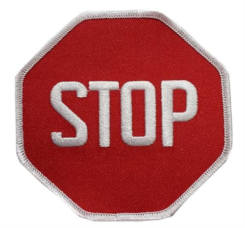 """Stop Sign Embroidered Sew On Patch - 3 1/2"""" X 3 1/2"""" Image"""