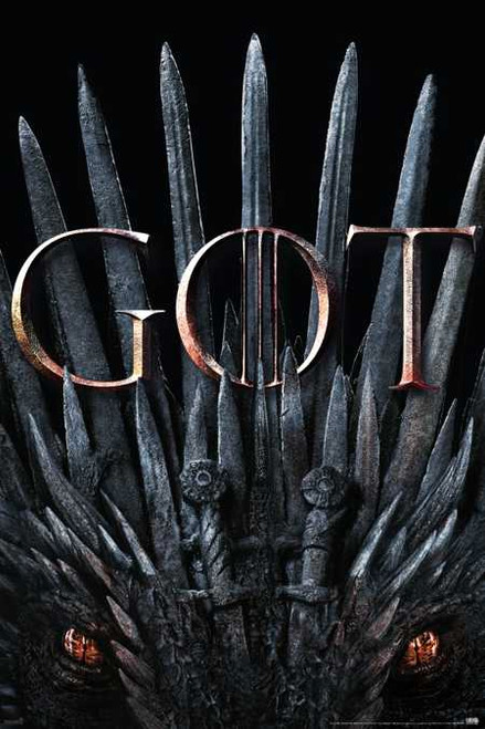 """Game of Thrones – S8 – Iron Throne & Dragon Poster 24"""" x 36"""" Image"""