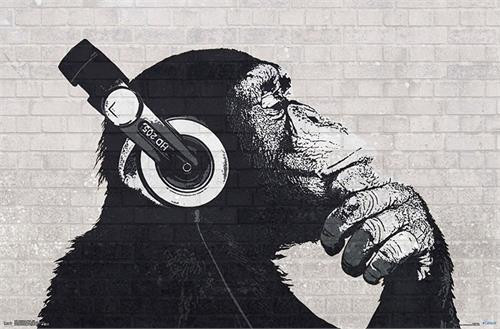 """Chimp with Headphones on Poster - 22.375""""' x 34""""' Image"""
