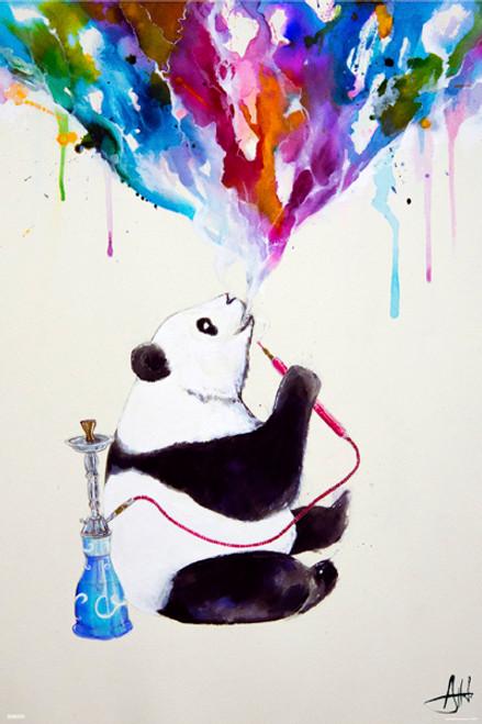 "Panda Bear Hookah by: Mark Alante Poster 24"" x 36"" Image"