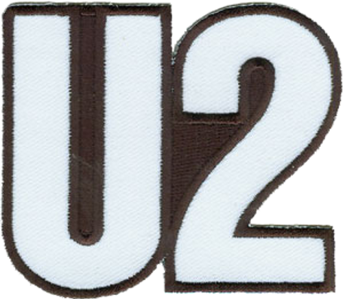 """U2 Logo - Iron On Embroidered Patch 3"""" x 2.6"""" Image"""