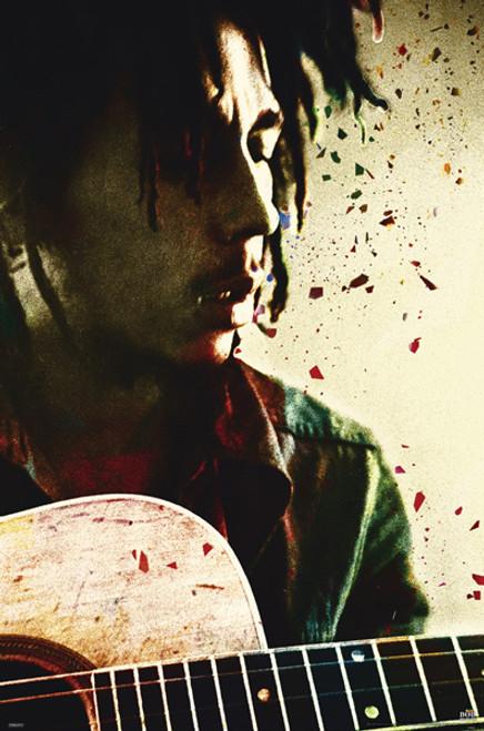"Bob Marley Acoustic Guitar Poster 24"" x 36"" Image"