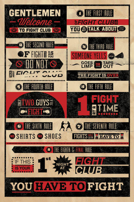 """Fight Club Rules Poster 24"""" x 36"""" Image"""