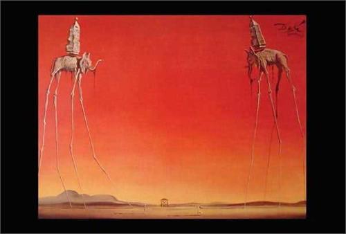 """Salvador Dali - Les Elephants Poster 24"""" x 36"""" Image"""