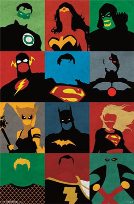 "Justice League - Minimalist Poster - 22.375"" X 34"" Image"