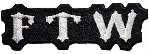 "FTW Embroidered Sew On Patch - 4"" X 1 1/4"" Image"