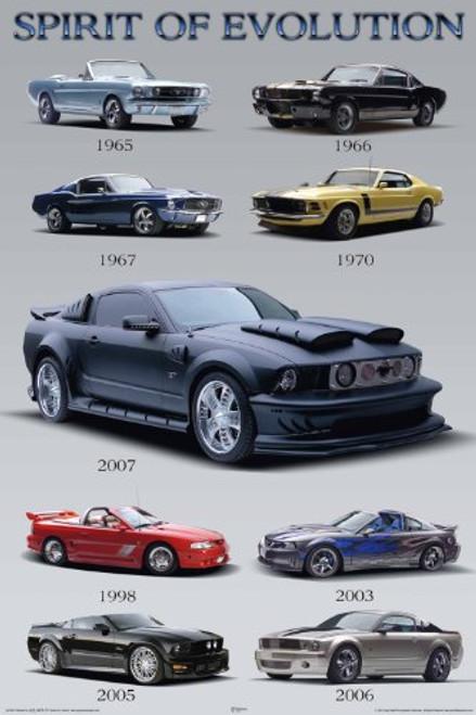 "Mustang Spirit of Evolution Sports Car Poster 24"" x 36"""