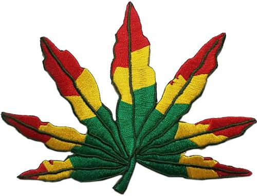 """Leaf - Reggae Embroidered Sew On Patch - 5"""" X 4"""" Image"""