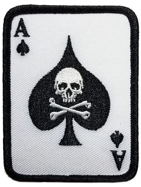 "Poker Player Skull - Embroidered Sew On Patch 2 1/4"" X 3"" Image"