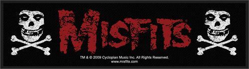 "Misfits Fiend Skull & Crossbones - Woven Sew On Patch 8"" x 2"" Image"