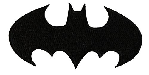 """Batman Die-Cut Black - Iron On Embroidered Patch 4"""" x 2"""" Image"""