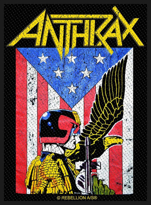 Anthrax - Judge Dredd Woven Sew On Patch 8cm x 10cm
