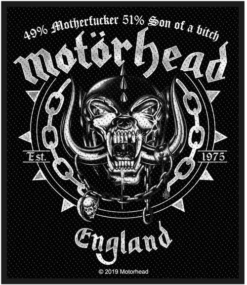 Motorhead Ball & Chain Woven Sew On Patch 8cm x 10cm