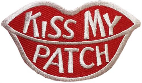 "Kiss My Patch Embroidered Sew On Patch Embroidered Sew On Patch - 4"" X 2 1/2"" Image"